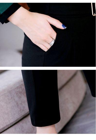 欧莱葛OLG 新款花瓣领两件套格子套装欧莱葛OLG 女装2019春装条纹百搭上衣背带连体裤套装
